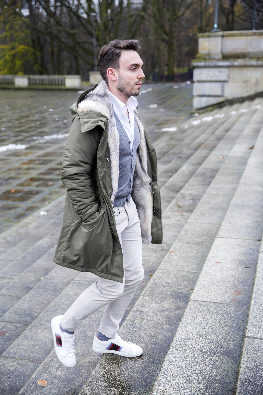 Loro Piana Parka, Zanone Incotex Cardigan, Sutor Mantelassi white sneakers
